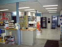 Sales counter with communication and cable accessories galore